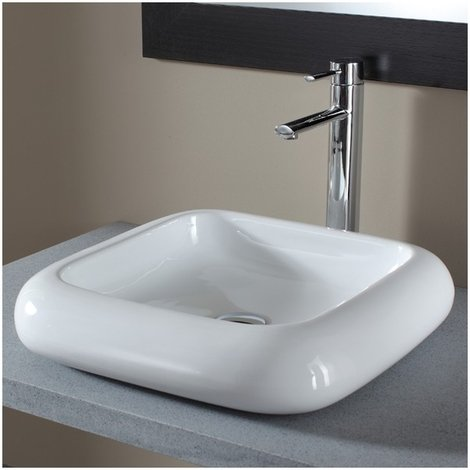 Vasque a poser carree en ceramique de qualite