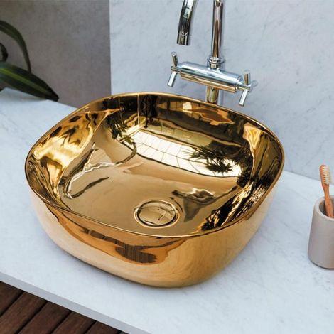 Vasque à poser carrée en céramique PALERMO gold - Céramique