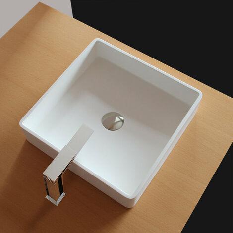 Vasque à poser carrée en fonte minérale solid surface QUADRATO 40 cm