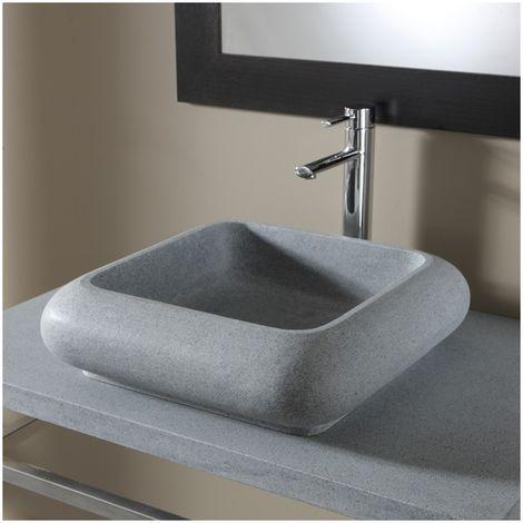 Vasque a poser carree en pierre naturelle