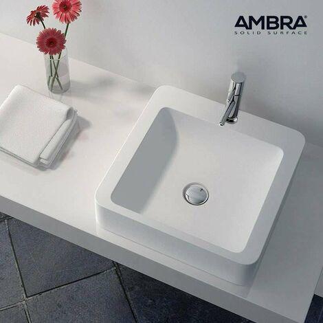 Vasque à poser carrée en Solid surface 40 cm - Tanaé