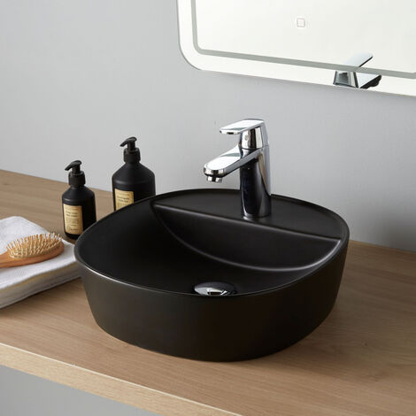 Vasque à poser carrée Thiva noire