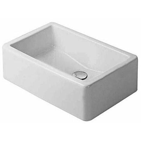 Vasque à poser Duravit Vero 600mm, avec plage de robinetterie - arrière émaillé - fixations incluses - Blanc