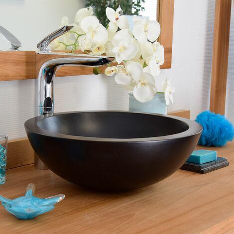 Vasque à poser effet béton noir, Rondo - Noir