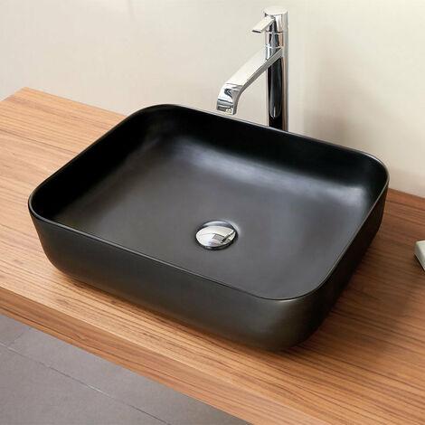 Vasque à poser en céramique CATANIA noir mat 50 x 40 cm