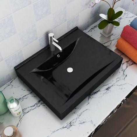 Vasque à poser en céramique noir per?age pour la robinetterie 60x46cm