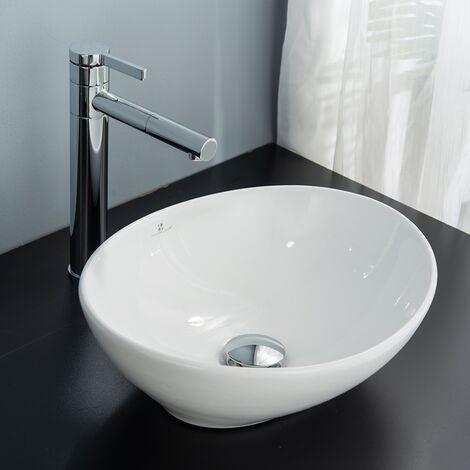 Vasque à Poser en Céramique Ovale pour Salle de Bain Moderne Blanche Ovale avec Bonde Siphon Lave Main Haut de Gamme