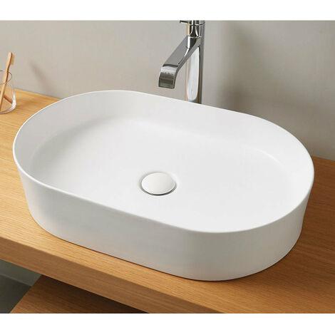 Vasque à poser en céramique TRAPANI blanc mat 60 x 38 cm