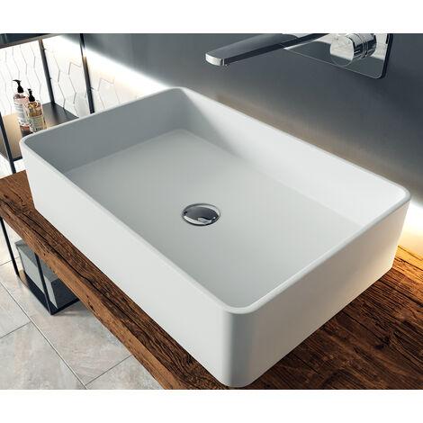 Vasque à poser en fonte minérale PB2012, en fonte minérale (pure acrylique) - 60 x 40 x 15 cm
