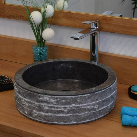 Vasque à poser en marbre noir, Sterio - Noir