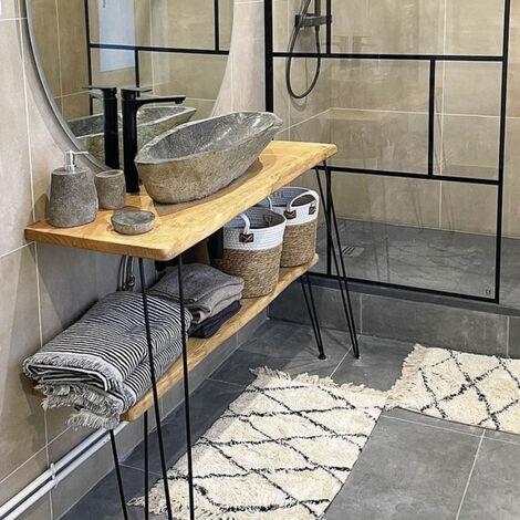 Vasque à poser en pierre de rivière 90/100 cm, Galéo XXL