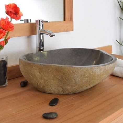 Vasque à poser en pierre de rivière Eden-Roc 60 - Naturel