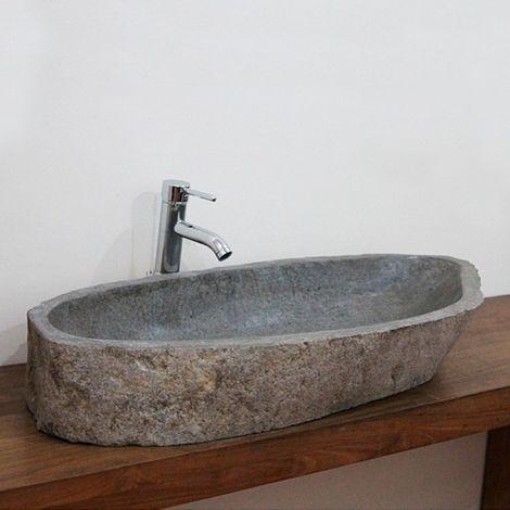 Vasque à poser en pierre de rivière Eden-Roc XXL - Naturel