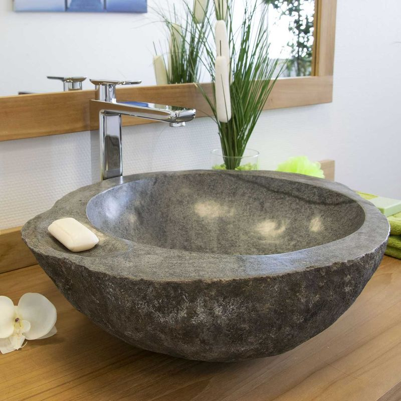 Plan Vasque En Pierre vasque à poser en pierre de rivière playa 50