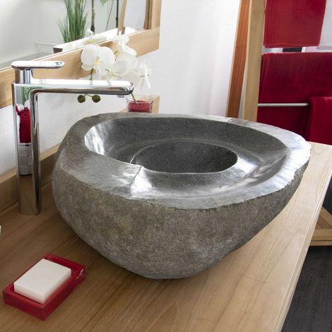 Vasque à poser en pierre de rivière Tourbillo 50 - Naturel