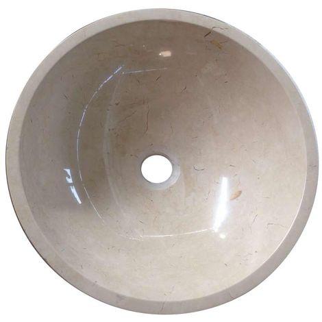 Vasque à poser en pierre naturelle blanc en marbre rond lavabo évier salle de bains cercle. 30cm de diamètre x 11cm de profondeur (B0071 nw)
