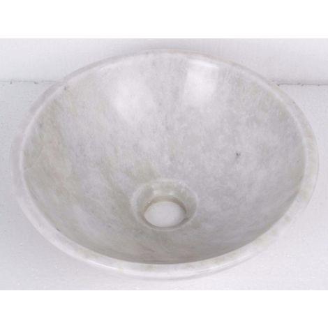 Vasque à poser en pierre naturelle blanc en marbre rond lavabo évier salle de bains cercle. 35cm de diamètre x 12cm de profondeur (B0035)