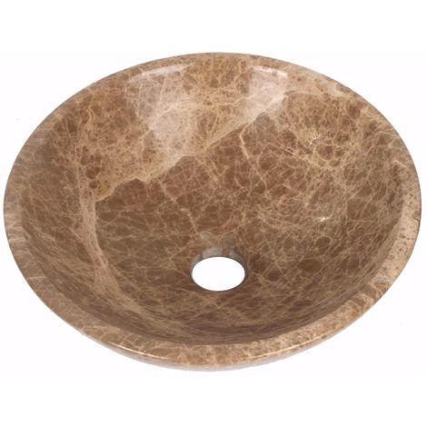 Vasque à poser en pierre naturelle marron en marbre rond lavabo évier salle de bains cercle. 40cm de diamètre x 13 cm de profondeur (B0044)
