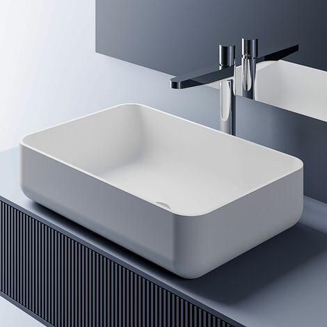 Vasque à poser en pierre solide PB2133 - en blanc mat, noir brillant ou en noir/ blanc brillant - 54 x 36 x 13 cm