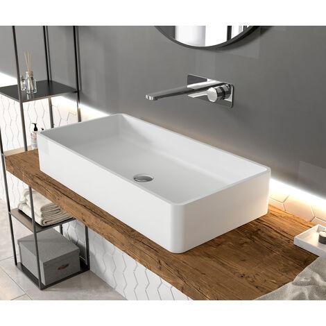Vasque à poser en solide surface PB2133 - 80 x 40 x 14,5 cm - blanc mat