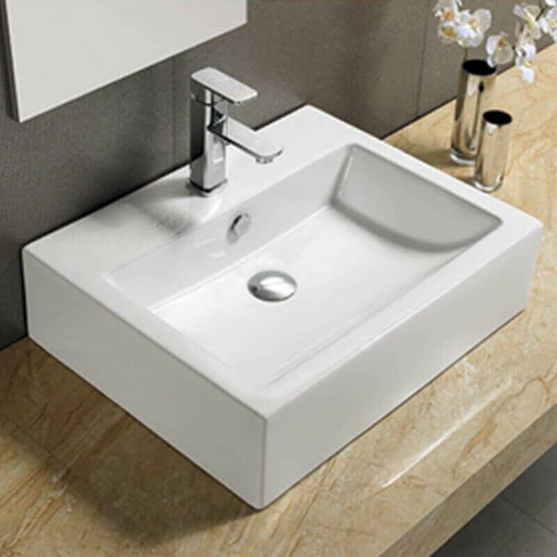 vasque carre a poser Vasque à Poser et- ou Suspendre Rectangulaire - Céramique - 57x45 cm -  Square