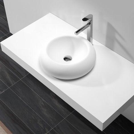 Vasque à Poser Galet - Solid surface Blanc Mat - 45 cm - Allure