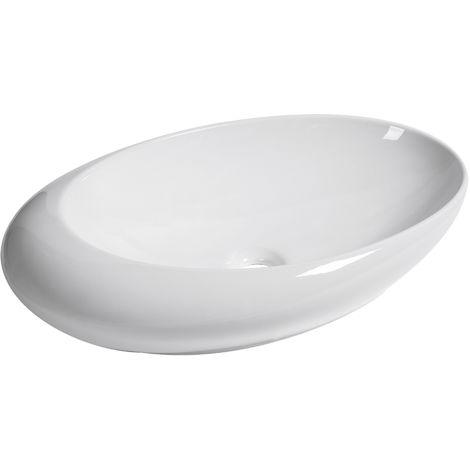 Vasque à Poser Lavabo en Céramique Ovale dim. 58,5 x 37,5 x 15 cm Blanc