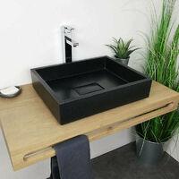 Vasque à poser Noir 50 cm en Pierre de synthèse - Tessa
