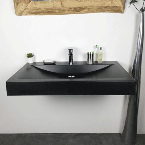 Vasque à poser ou à suspendre Noir 90 cm en Pierre de synthèse - Eva