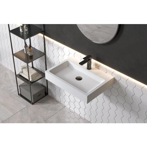 Vasque à poser ou lavabo à suspendre PB2142 en solide surface (Solid Stone) – blanc mat – 60 x 42 x 10 cm