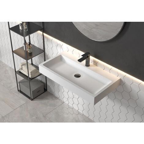 Vasque à poser ou lavabo à suspendre PB2143 en solide surface (Solid Stone) – blanc mat – 80 x 42 x 10 cm