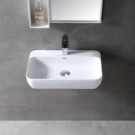 Vasque à poser ou lavabo à suspendre TWG201 en solide surface (Solid Stone) – blanc mat – 60 x 40 x 14 cm