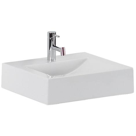 Vasque à poser ou murale ANCOZEN 2, rectangulaire en céramique sans trop plein et avec plage de robinetterie - Blanc