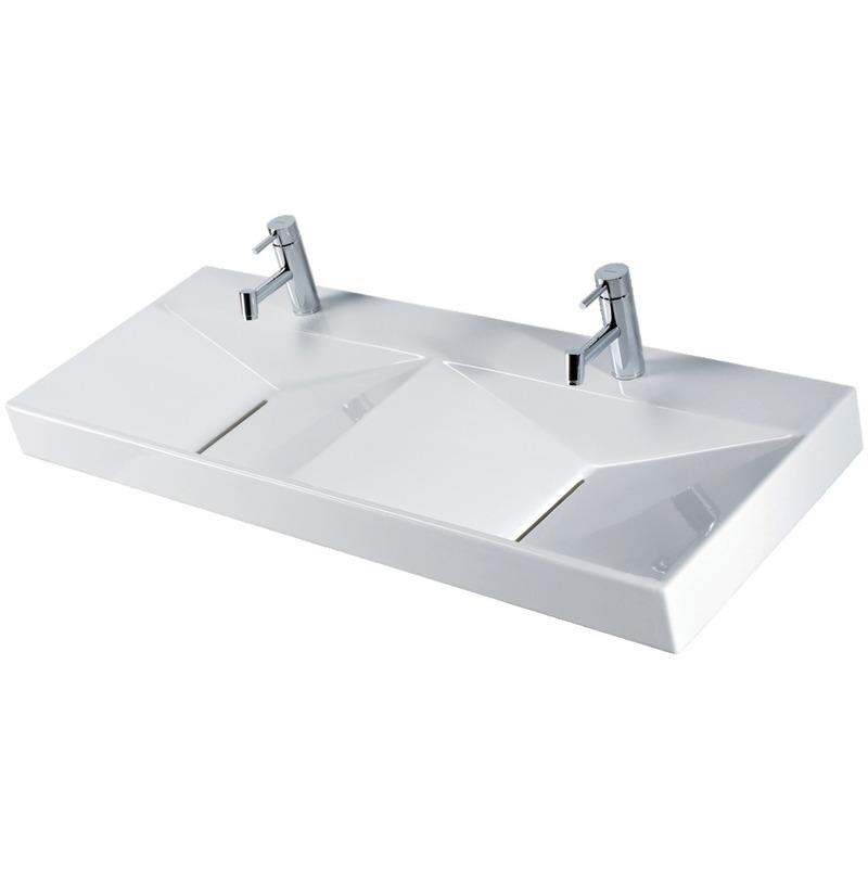 vasque a poser ceramique Vasque à poser ou murale ANCOZEN5 double vasque, rectangulaire en céramique  sans trop plein et avec plage de robinetterie - Blanc