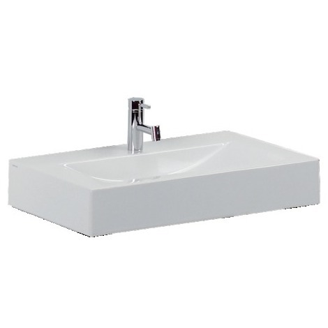 Vasque à poser ou murale ou sur pied ANCOZEN 2, rectangulaire en céramique  sans trop plein et avec plage de robinetterie - Blanc