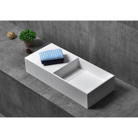 Vasque à poser ou murale, TWG08, en Solid Surface (pierre solide) - blanc mat - 75 x 32,5 x 15 cm
