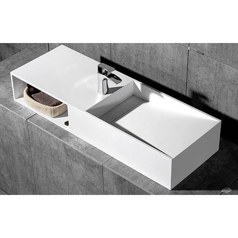 Vasque à poser ou murale,TWG06, en pierre solide (solid stone) - 120x42x20cm - blanc mat
