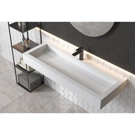 Vasque à poser ou pour montage mural PB2079 en pierre solide - 120 x 46 x 13 cm - blanc mat