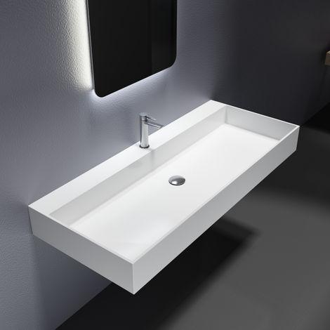Vasque à poser ou pour montage mural PB2215 en pierre solide (Solid Stone) - 120 x 50 x 13 cm - blanc mat