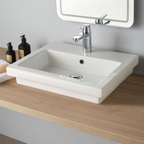 Vasque à poser ou semi encastrable rectangle Bella