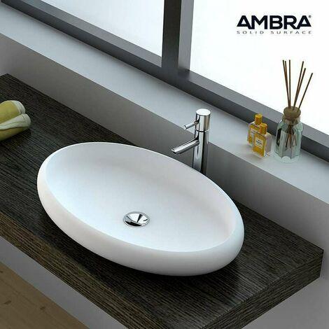 Vasque à poser ovale 60 cm en Solid surface - Bella