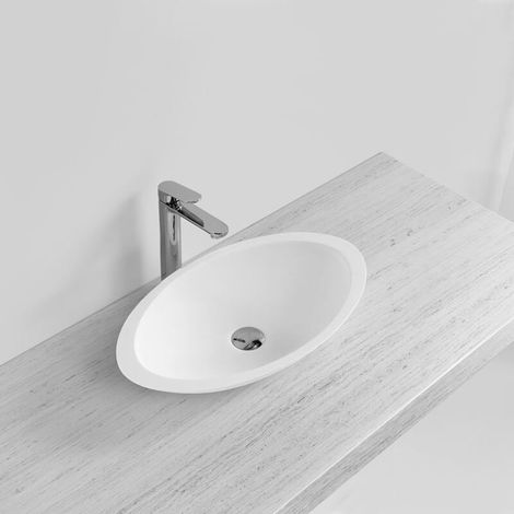 Vasque à Poser Ovale - Solid surface Blanc Mat - 59x35 cm - Soon