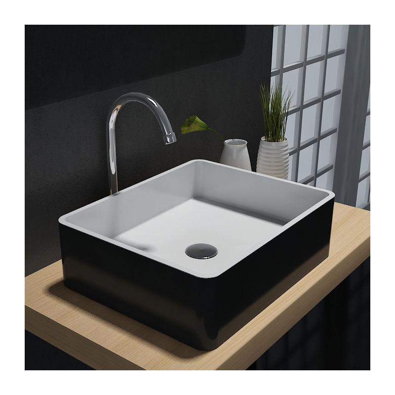 mat - 60 x 40 x15 cm Solid Stone Vasque /à poser PB2012B en pierre solide Couvercle suppl/émentaire:Sans couvercle suppl. Couleur:Noir couleur s/électionnable