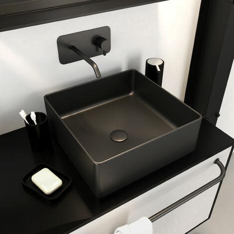 Vasque à poser rectangle en céramique noire - 40x40x14cm - SQUARISH DARK