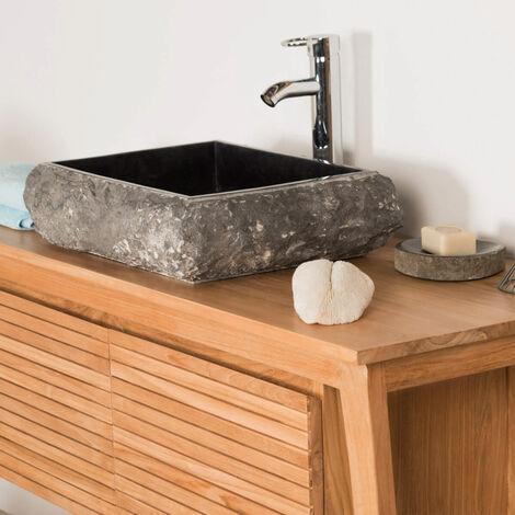 Vasque à poser rectangle en pierre marbre NAPLES noir