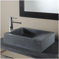 Vasque à poser rectangle en pierre naturelle