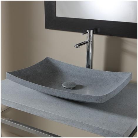 Vasque à poser rectangulaire gris ardoisé en pierre