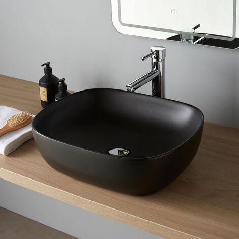 Vasque à poser rectangulaire noire 49.5 x 40.5 - Manille