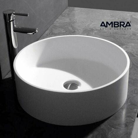 Vasque à poser ronde 45 cm en Solid surface - Doria