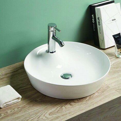 Vasque à Poser Ronde - Céramique Blanc Brillant - 44 cm - Lodge